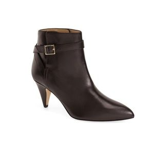 Kate Spade Yillie Black Leather Buckle Ankle Boots